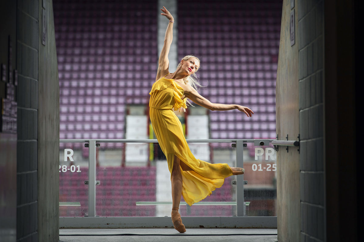Dancer Eve Mutso Poses At Festival Venue Tynecastle Park To Celebrate The Launch Of The 2019 Edinburgh International Festival Programme Photo