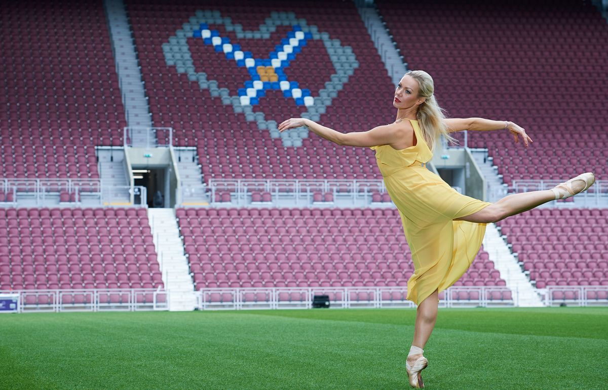 Dancer Eve Mutso Poses At Tynecastle Park To Celebrate The Launch Of The 2019 Edinburgh International Festival Programme Photo