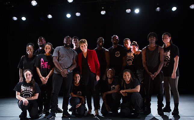First Minister Nicola Sturgeon With Dancers From Hip Hop Company Boy Blue Entertainment